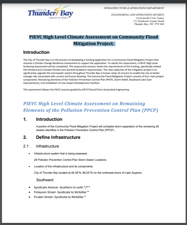 PIEVC High Level Climate Assessment on Community Flood Mitigation Project