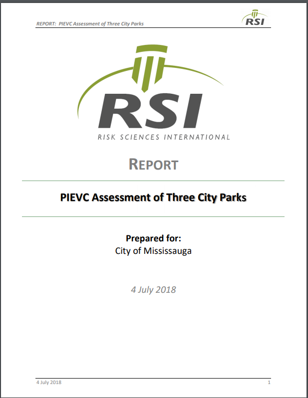 PIEVC Assessment of Three City Parks – City of Mississauga