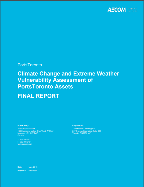 PortsToronto Climate Change and Extreme Weather Vulnerability Assessment of PortsToronto Assets FINAL REPORT