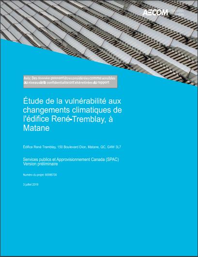 Étude de la vulnérabilité aux changements climatiques de l'édifice René-Tremblay, à Matane Annexe A : Analyse des données climatiques